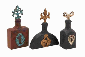 "11"" H Metal Stopper Bottle With Bright Designs (Set Of 2) - 56192 by Benzara"