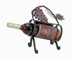 """11""""H Unique Mug Styled Metal Wine Caddy in Graceful Curves Brand Woodland"""