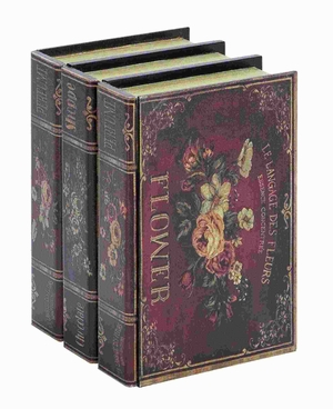 "11""H Wood Book Box Multicolored Floral Accents with Classic Style Brand Woodland"