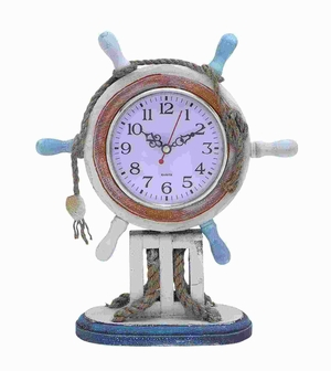 """11""""H Wood Clock in Nautical Theme with Sailor Wheel Frame Brand Woodland"""
