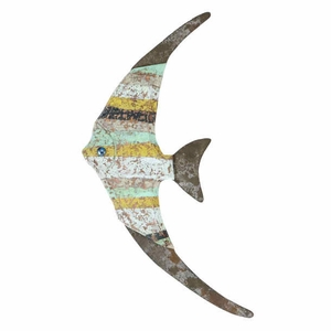 """11""""H Wood Fish Wall Decor with Attractive Fish Styled Design Brand Woodland"""