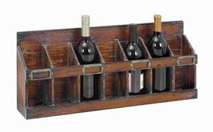 """11""""H Wood Wine Rack with 7 Bottles Hold of Standard Size Brand Woodland"""