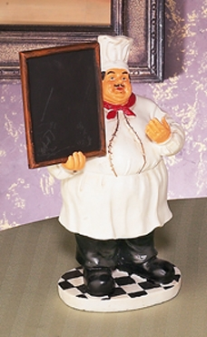 "11"" Polyresin Fat Chef Waiter with  Menu Board French Bistro Brand Woodland"