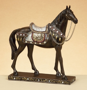 "11"" Walking Tang Horse Statue with Elegant Saddle in Brown Brand Woodland"