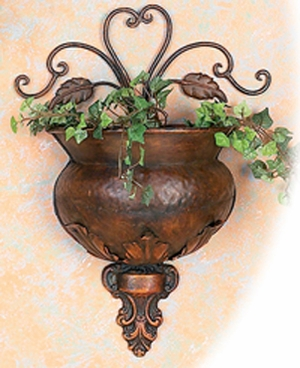 "12"" Classic Metal Copper Wall Decor Planter with Floral Design Brand Woodland"