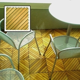 12 Diagonal Slat Acacia Interlocking Deck Tile (Teak Finish) by Vifah