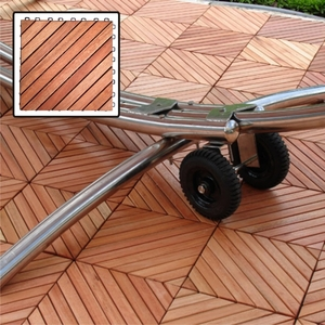 12 Diagonal Slat Eucalyptus Interlocking Deck Tile by Vifah