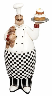 "12"" French Fat Chef Crafted in Resin with Serving Tray and Bread Brand Woodland"