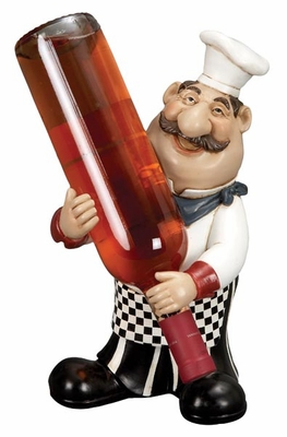 "12"" French Fat Chef Crafted in Resin with Wine Holder Barware Brand Woodland"