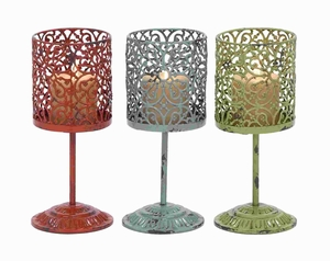 "12"" H Attractive Metal Candle Holder 3 Assorted with Unique Style Brand Woodland"