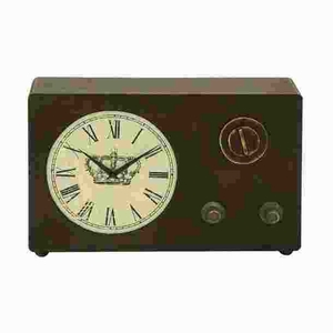 "12""H Classic Wood Clock with Roman Numerals and Vintage Look Brand Woodland"