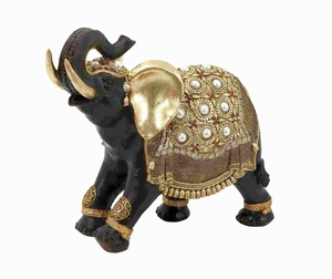 "12""H Indian Style Polystone Decorative Elephant with Gold Accents Brand Woodland"