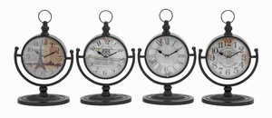 "12""H Metal Desk Clock Assorted in Natural Shades (Set of 4) Brand Woodland"