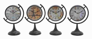 Metal Desk Clock Assorted with Fine Design (Set of 4) - 92201 by Benzara