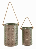 "12"" H Metal Galvanized Lantern with Intricate Design (Set of 2) Brand Woodland"