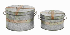 "12"" H Traditional Metal Galvanized Round Box (Set of 2) Brand Woodland"