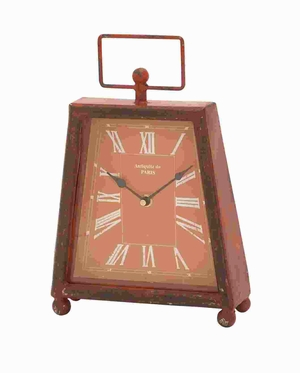 "12"" H Trendy Metal Clock with Unique Shade of Red Color Brand Woodland"