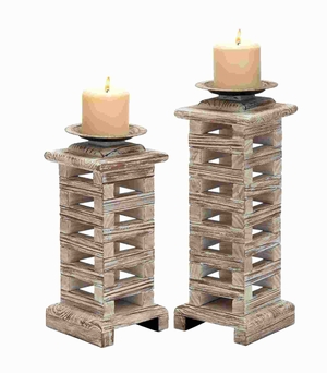 """12""""H Two Classy Wood Candle Holder with Exquisite Design Brand Woodland"""