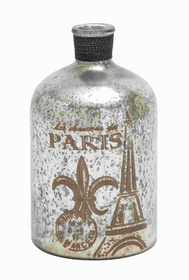 """12""""H Unique and Attractive Glass Bottle Brown and White Print Brand Woodland"""