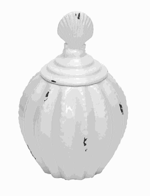 "12""H Unique and Beautiful Ceramic Jar in Glossy White Finish Brand Woodland"