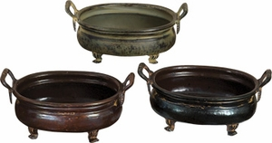 """12"""" Metal Copper Floral Planters in Rustic Look - Set of 3 Brand Woodland"""