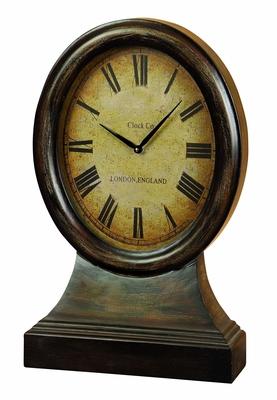 """12"""" Old Time Antiqued Wood Round London England Wall Clock Brand Woodland"""
