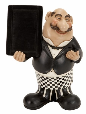 """12"""" Resin French Fat Chef with Chalk Board Menu Sign Board Brand Woodland"""