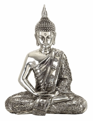 "12"" Silver Buddha Meditating Peace Statue Sculpture Brand Woodland"