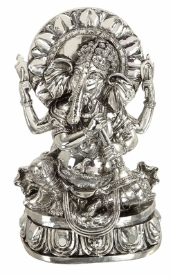 "12"" Silver Ganesha Statue Elephant Head God Of Success Brand Woodland"