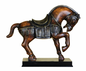"12"" Tall Chinese Tang Dynasty Horse Statue with One Leg Up Brand Woodland"