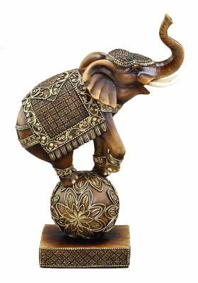 "12"" Trunk Up Circus Elephant on Ball Statue Sculpture in Gold Brand Woodland"