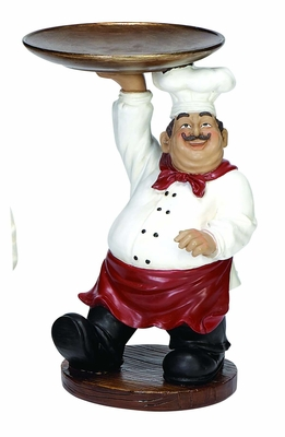 "13"" Cold Cast Resin French Fat Chef Holding Tray Platter Brand Woodland"