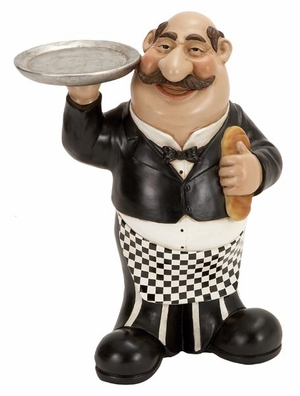 """13"""" French Fat Chef Crafted in Resin with Serving Tray and Bread Brand Woodland"""