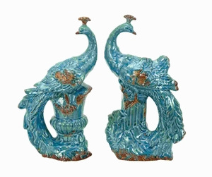 "13""H Ceramic Peacock in Beautiful Aqua Blue Color (Set of 2) Brand Woodland"