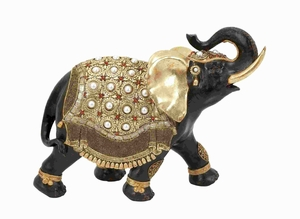 Polystone Elephant Distinctive and Elegant with Gold Detail - 69478 by Benzara