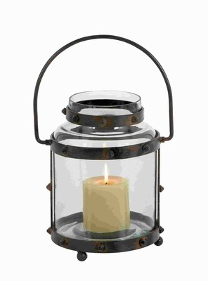 "13"" H Rusty Touch Metal Glass Lantern with Pointed Studs Design Brand Woodland"