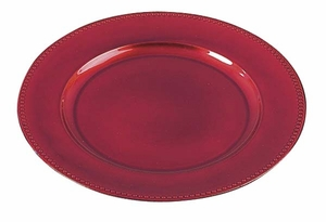 "13"" Melamine Charger Plates in Lacquered Red Finish - Set of 24 Brand Woodland"