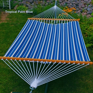 13' Tropical Palm Stripe Blue Hammock by Alogma