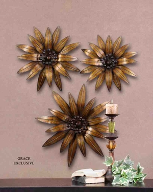 13479 Golden Gazania's Set/3: Natural Decor Option With Flexibility Brand Uttermost