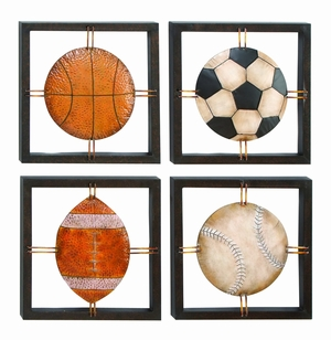 "14"" Classic Game Balls Metal Piece Wall Decor Sculpture Brand Woodland"