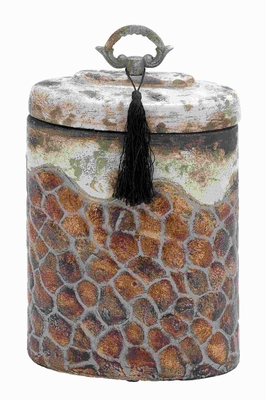 "14""H Ceramic Jar with Attractive Shades and Smooth Finish Brand Woodland"