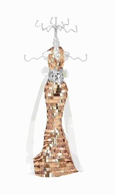 """14""""H Jewelry Holder Brandishing a Gold and Silver Sequined Body Brand Woodland"""