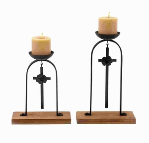 "14"" H Metal Candle Holler with Attractive Features (Set of 2) Brand Woodland"