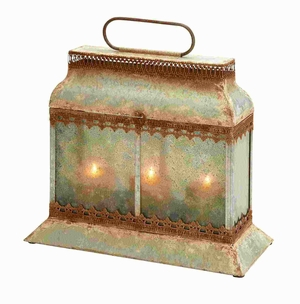 "14"" H Metal Candle Lantern Elegantly Designed in Brown Color Brand Woodland"