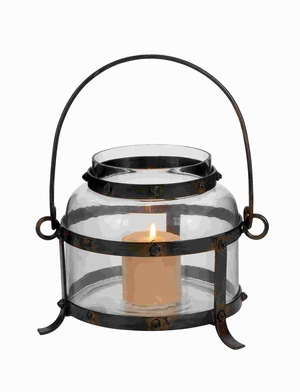 "14""H Traditional Metal Glass Lantern in Antique Worn Finish Brand Woodland"