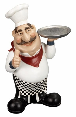 "15"" Cold Resin French Fat Chef with Serving Tray and Thumbs Up Brand Woodland"