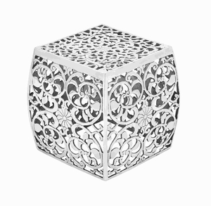 Metal Stool With Cube Shaped And Intricate Design - 30898 by Benzara