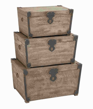 "15"" H Exquisite Wood Trunk in Elegant Design (Set of 3) Brand Woodland"