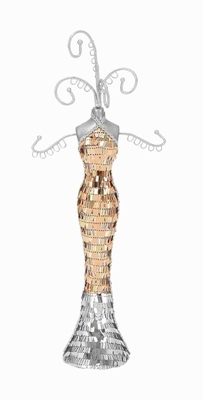 "15""H Jewelry Holder Flaunting a Sequined Body and a Gown Brand Woodland"