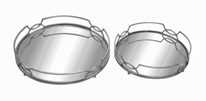 """15""""H Metal Mirror Tray in Matte Silver Finish (Set of 2) Brand Woodland"""